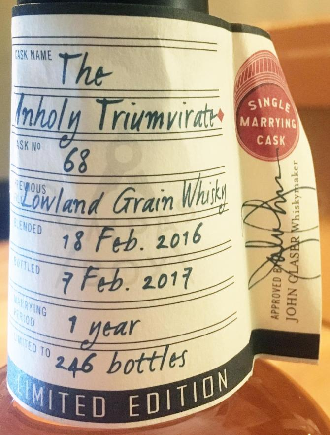 Compass Box Great King Street Single Marrying Cask Unholy Triumvirate Cask #68