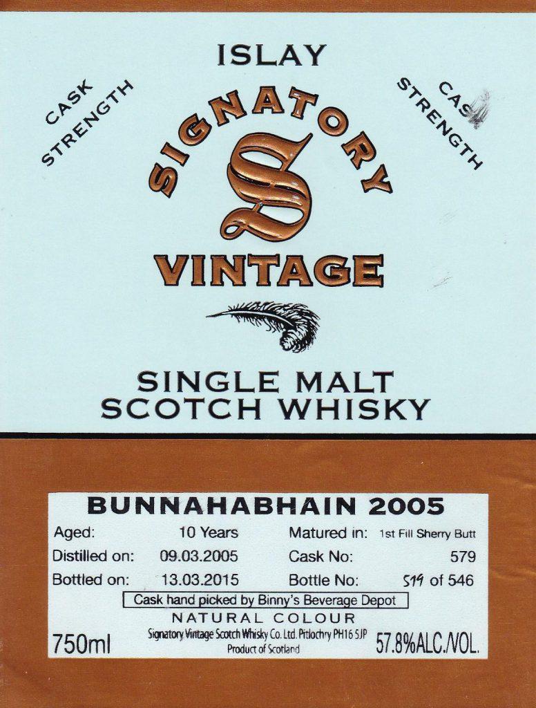 Bunnahabhain 10yr Signatory Vintage 2005 #579Lead post image