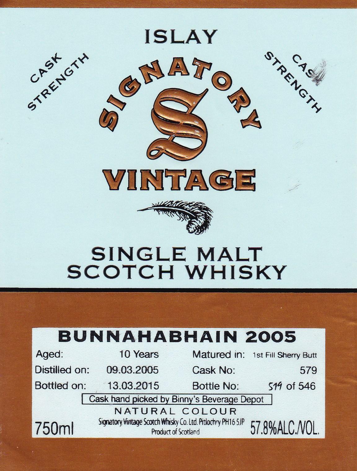 Bunnahabhain 10yr Signatory Vintage 2005 #579